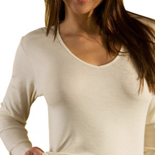 Ekologiški marškinėliai vilna/šilkas ilgom rankovėm balti