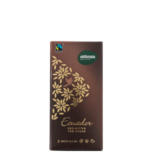 "Naturata ekologiškas šokoladas juodasis (70%) ""Ecuador"", 100g"