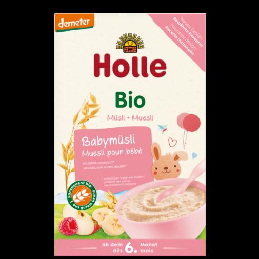 Holle biodinaminė KVIEČIŲ ir AVIŽŲ dribsniai su vaisiais nuo 6 mėnesių greito paruošimo košė, 250g