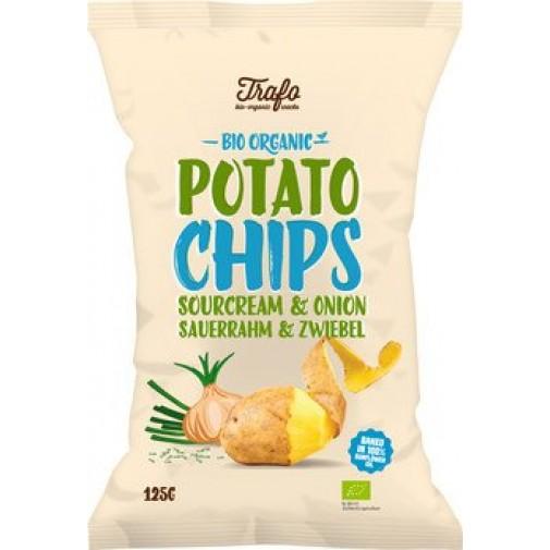 Trafo ekologiški bulvių traškučiai su grietine ir svogūnais