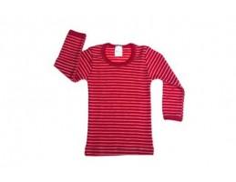 Hocosa vilnos marškinėliai dryžuoti natūrali/raudona 104