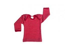 Hocosa vilnos marškinėliai dryžuoti natūrali/raudona 74/80
