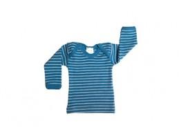 Hocosa vilnos marškinėliai dryžuoti natūrali/mėlyna 62/68