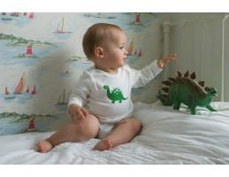 """Ekologiškos šukuotos medvilnės glaustinukė balta """"Dinozauras"""" 0-3 mėn."""