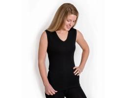 Ekologiški marškinėliai vilna/šilkas be rankovių juodi