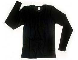 Ekologiški marškinėliai vilna/šilkas ilgom rankovėm juodi
