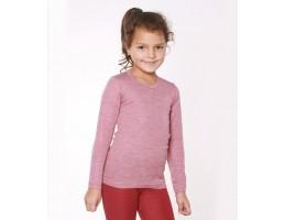 Hocosa ekologiški vilna/šilkas marškinėliai rubino raudona su balta 164